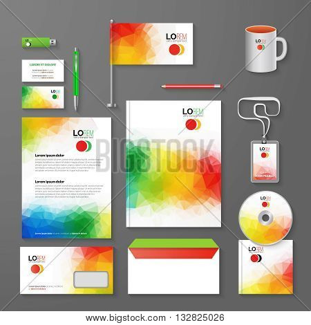 Abstract Corporate Business identity Template Layout. Pen, CD, Cup, Letter, Folder, Business cards. Vector company triangle style for brandbook and guideline