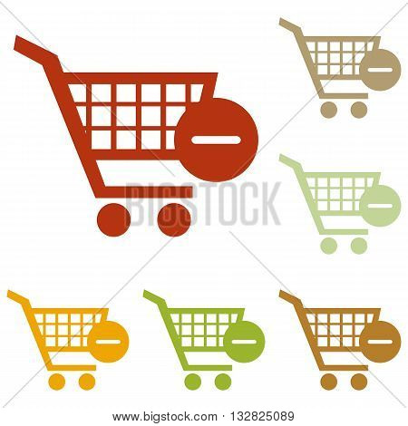 Vector Shopping Cart with Remove sign. Colorful autumn set of icons.