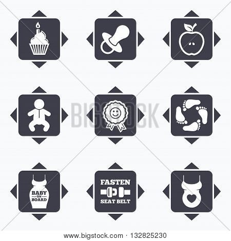 Icons with direction arrows. Pregnancy, maternity and baby care icons. Apple, award and pacifier signs. Footprint, birthday cake and newborn symbols. Square buttons.
