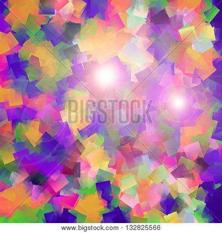 Abstract coloring gradients background with visual cubism and lens flare effects