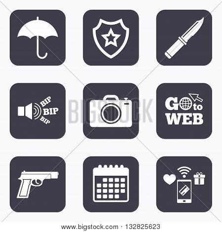Mobile payments, wifi and calendar icons. Gun weapon icon.Knife, umbrella and photo camera signs. Edged hunting equipment. Prohibition objects. Go to web symbol.
