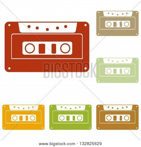 Cassette icon, audio tape sign. Colorful autumn set of icons.