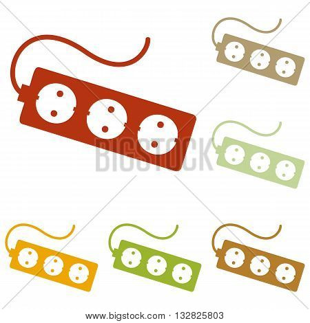 Electric extension plug sign. Colorful autumn set of icons.