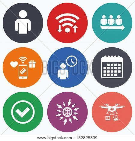 Wifi, mobile payments and drones icons. Queue icon. Person waiting sign. Check or Tick and time clock symbols. Calendar symbol.