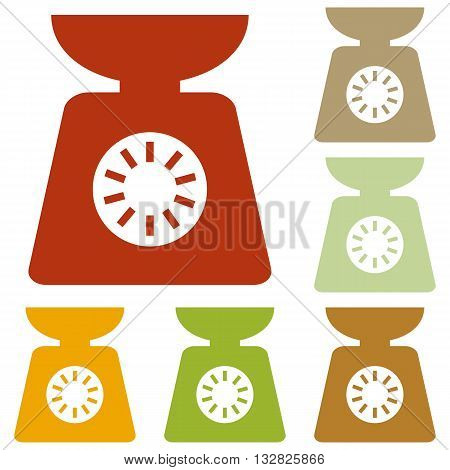 Kitchen scales sign. Colorful autumn set of icons.