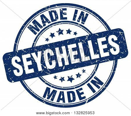made in Seychelles blue round vintage stamp.Seychelles stamp.Seychelles seal.Seychelles tag.Seychelles.Seychelles sign.Seychelles.Seychelles label.stamp.made.in.made in.