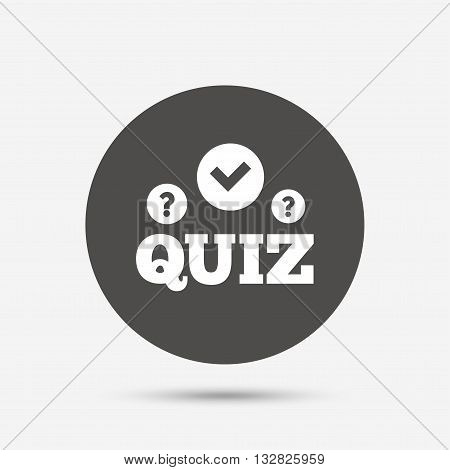 Quiz with check and question marks sign icon. Questions and answers game symbol. Gray circle button with icon. Vector