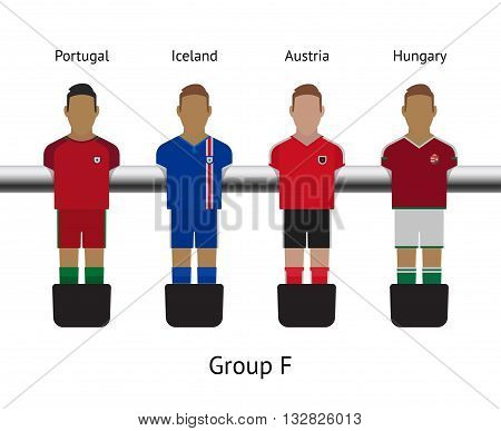 Table football game, Soccer table with players Football players kit. Soccer teams. Portugal, Iceland, Austria, Hungary