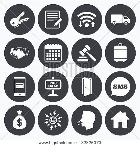 Wifi, calendar and mobile payments. Real estate, auction icons. Handshake, for sale and money bag signs. Keys, delivery truck and door symbols. Sms speech bubble, go to web symbols.