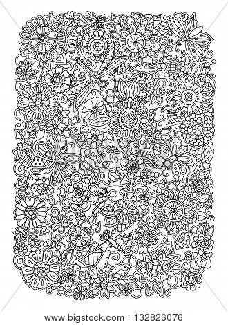 Ethnic floral zentangle doodle background pattern circle in vector. Flowers dragonfly and butterfly design tribal design. Black and white pattern for coloring book for adults and kids.