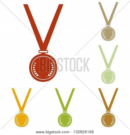Medal simple sign. Colorful autumn set of icons.