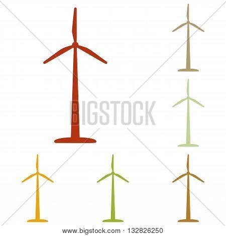 Wind turbine logo or sign. Colorful autumn set of icons.