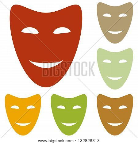 Comedy theatrical masks. Colorful autumn set of icons.