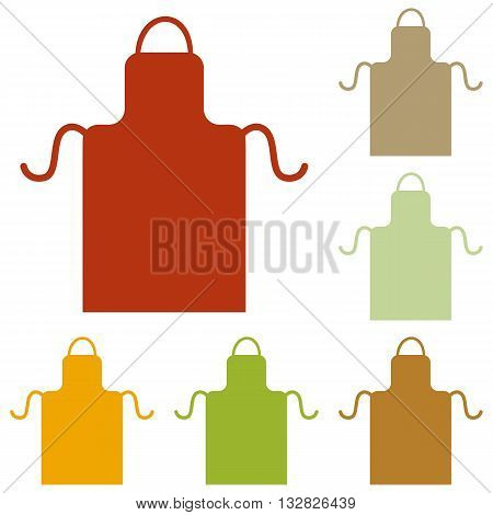 Apron simple sign. Colorful autumn set of icons.