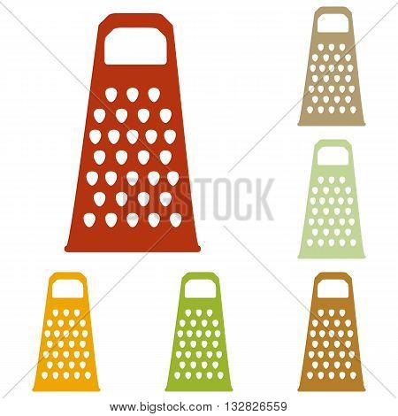 Cheese grater sign. Colorful autumn set of icons.
