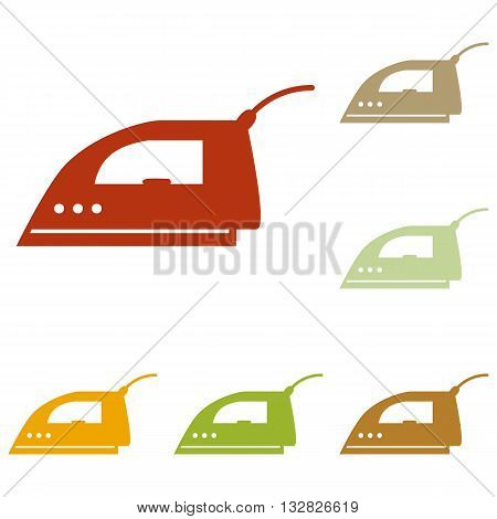 Smoothing Iron sign. Colorful autumn set of icons.