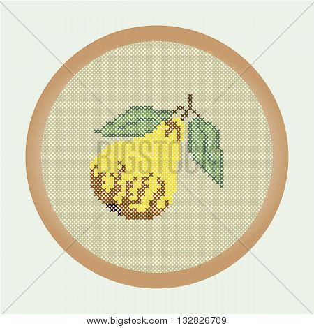 Embroidery yellow pear. Vector illustration: the pear which is cross stitched in a round frame