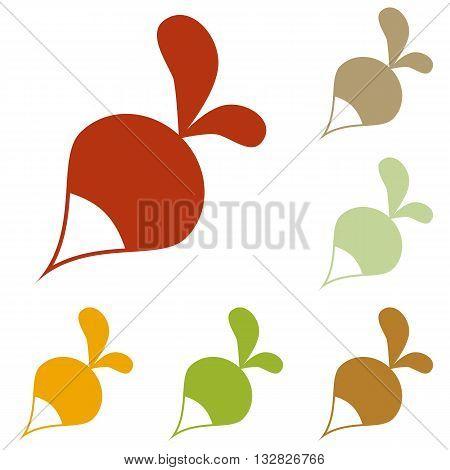 Radish simple sign. Colorful autumn set of icons.