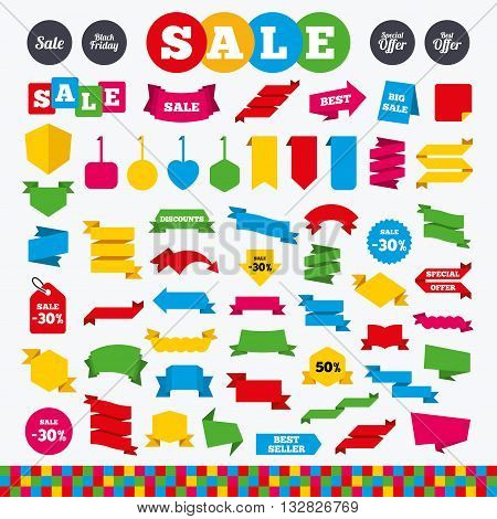 Banners, web stickers and labels. Sale icons. Best special offer symbols. Black friday sign. Price tags set.