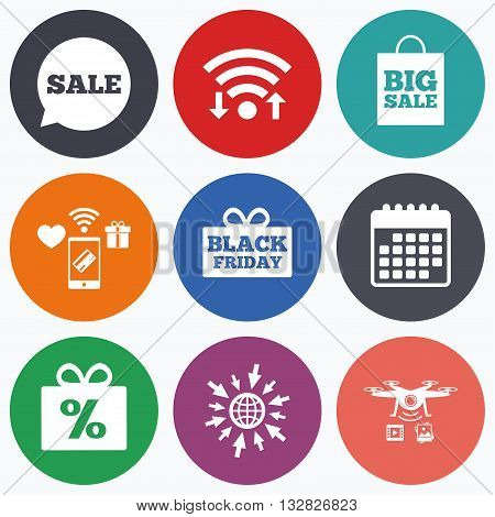 Wifi, mobile payments and drones icons. Sale speech bubble icon. Black friday gift box symbol. Big sale shopping bag. Discount percent sign. Calendar symbol.