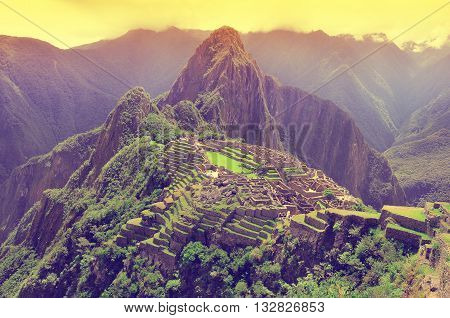 Aerial morning view of Machu Picchu. Peru.