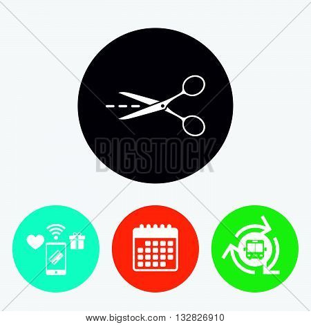 Scissors with cut dash dotted line sign icon. Tailor symbol. Mobile payments, calendar and wifi icons. Bus shuttle.