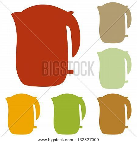 Electric kettle sign. Colorful autumn set of icons.