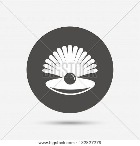 Sea shell with pearl sign icon. Conch symbol. Travel icon. Gray circle button with icon. Vector