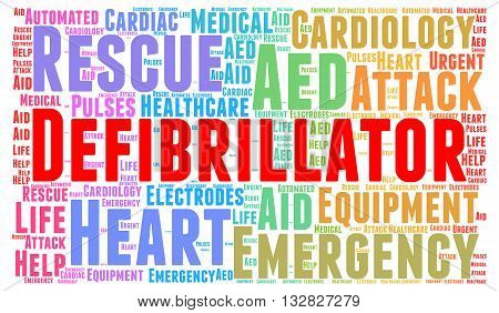 Defibrillator word cloud concept with a white background