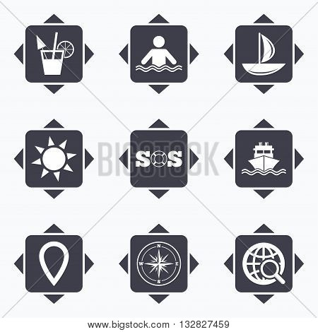 Icons with direction arrows. Cruise trip, ship and yacht icons. Travel, cocktail and sun signs. Sos, windrose compass and swimming symbols. Square buttons.