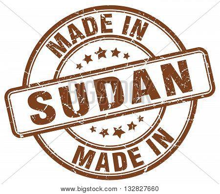 made in Sudan brown round vintage stamp.Sudan stamp.Sudan seal.Sudan tag.Sudan.Sudan sign.Sudan.Sudan label.stamp.made.in.made in.