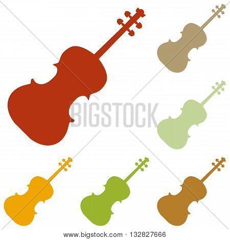 Violine sign illustration. Colorful autumn set of icons.
