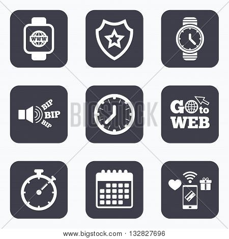Mobile payments, wifi and calendar icons. Smart watch with internet icons. Mechanical clock time, Stopwatch timer symbols. Wrist digital watch sign. Go to web symbol.