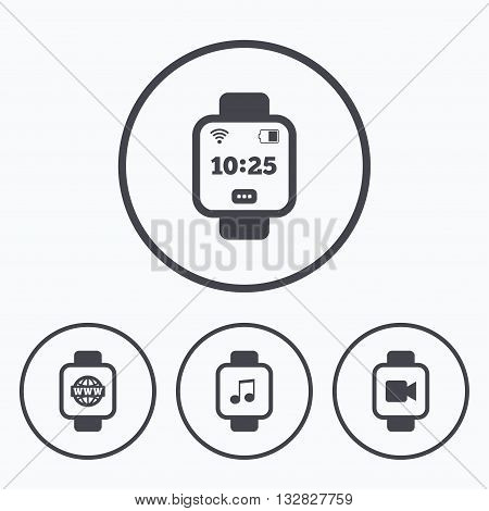 Smart watch icons. Wrist digital time watch symbols. Music, Video, Globe internet and wi-fi signs. Icons in circles.