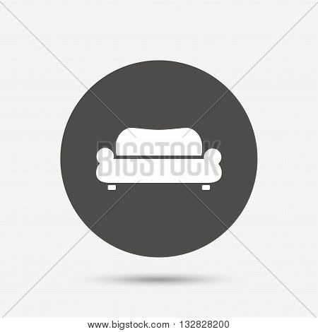 Comfortable sofa sign icon. Modern couch furniture symbol. Gray circle button with icon. Vector