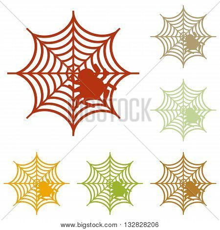 Spider on web illustration Colorful autumn set of icons.