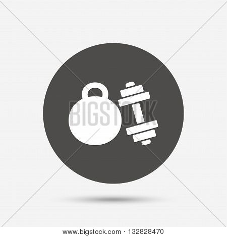 Dumbbell with kettlebell sign icon. Fitness sport symbol. Gym workout equipment. Gray circle button with icon. Vector
