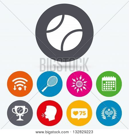 Wifi, like counter and calendar icons. Tennis ball and rackets icons. Winner cup sign. Sport laurel wreath winner award symbol. Human talk, go to web.