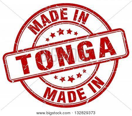 made in Tonga red round vintage stamp.Tonga stamp.Tonga seal.Tonga tag.Tonga.Tonga sign.Tonga.Tonga label.stamp.made.in.made in.
