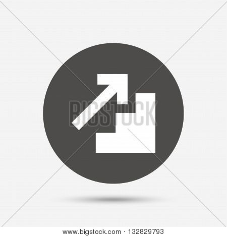 Upstairs icon. Up arrow sign. Gray circle button with icon. Vector