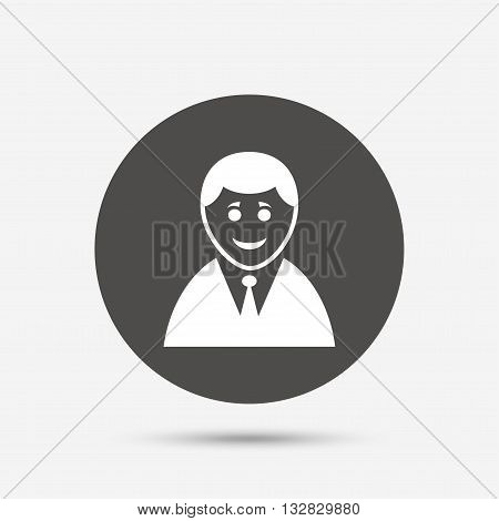User sign icon. Person symbol. Human in suit avatar. Gray circle button with icon. Vector