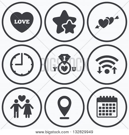 Clock, wifi and stars icons. Valentine day love icons. I love you ring symbol. Couple lovers sign. Calendar symbol.