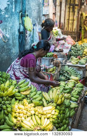 Illustrative documentary. Pondicherry, India, February 21, 2014. Sales of fruits vegetables and flowers in the main market, daily market.