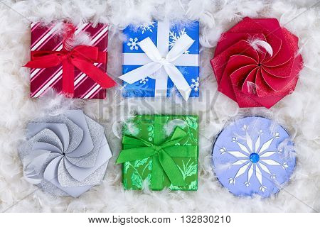 Six Christmas Gift Boxes In Fluffy Padding