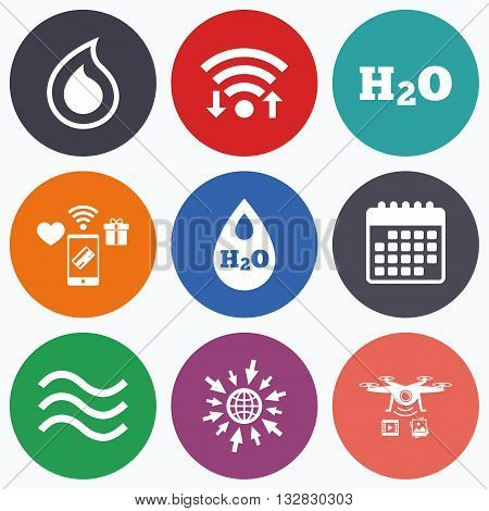 Wifi, mobile payments and drones icons. H2O Water drop icons. Tear or Oil drop symbols. Calendar symbol.