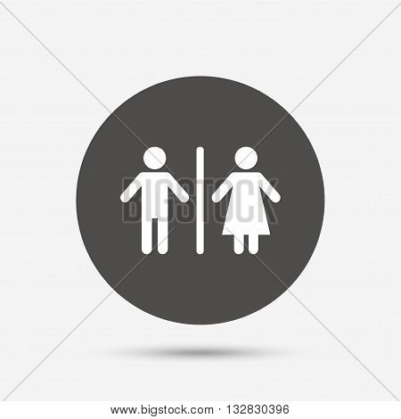 WC sign icon. Toilet symbol. Male and Female toilet. Gray circle button with icon. Vector