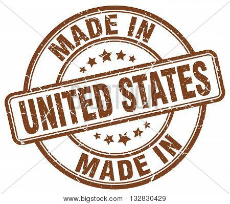 made in United States brown round vintage stamp.United States stamp.United States seal.United States tag.United States.United States sign.United.States.United States label.stamp.made.in.made in.