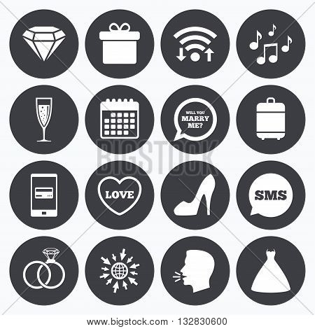 Wifi, calendar and mobile payments. Wedding, engagement icons. Rings, gift box and brilliant signs. Dress, shoes and musical notes symbols. Sms speech bubble, go to web symbols.