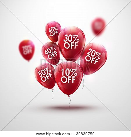 Red Baloons Discount. SALE concept for shop market store advertisement commerce. Market discount, red baloon, sale balloons. Business sale balloon. Balloon bunch. Red balloons template