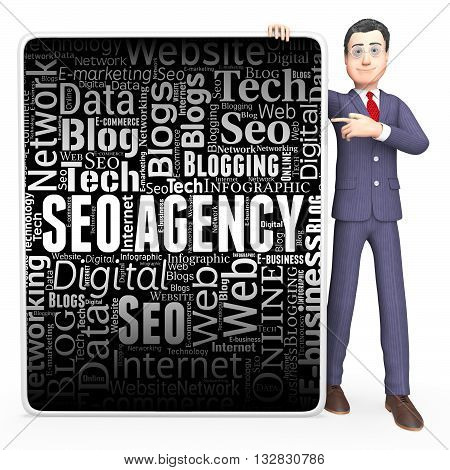 Seo Agency Indicates Search Engine And Board 3D Rendering